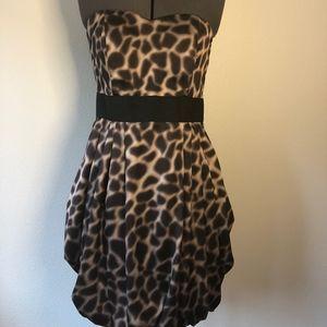 H&M Leopard Print Strapless Cocktail Dress